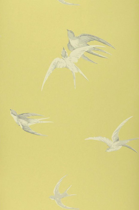 Wallpaper Izanami Matt Birds Light yellow green Grey tones Grey white