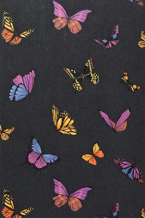 Wallpaper Lumiere Matt pattern Shimmering base surface Butterflies Black glitter Gorze yellow  Orange Violet