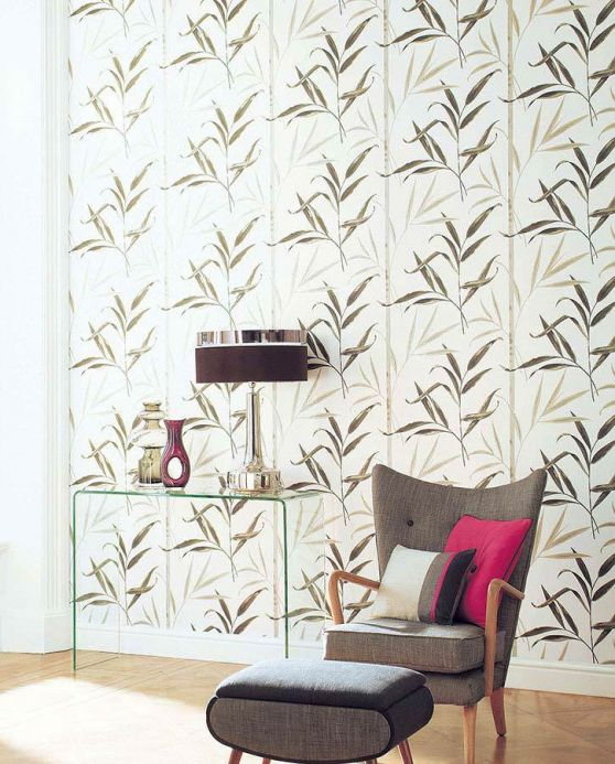 Archiv Wallpaper Aphrodite olive grey Room View