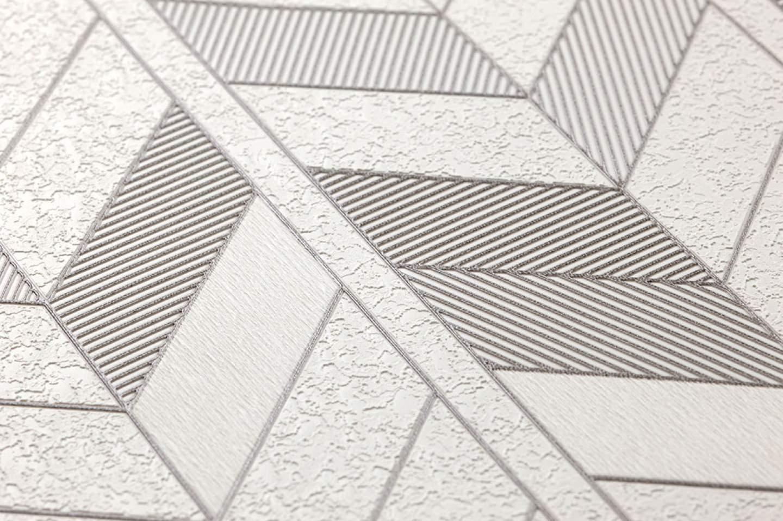 Papel pintado herringbone by porsche blanco crema gris for Papel pintado de los 70