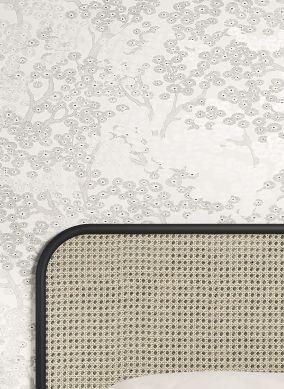 Papel de parede Kirigami cinza claro pérola Raumansicht