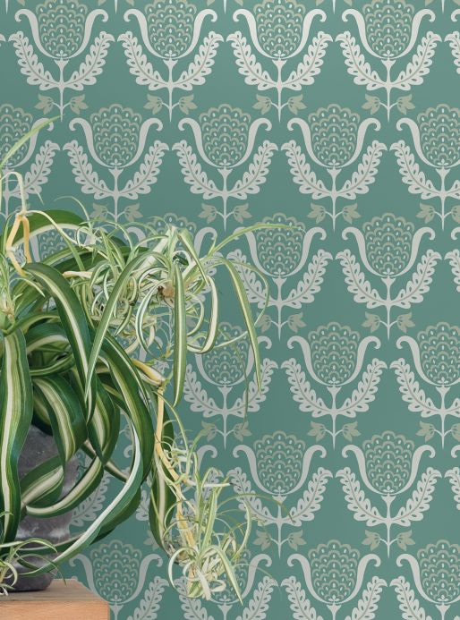 Archiv Wallpaper Zarina pastel turquoise Room View