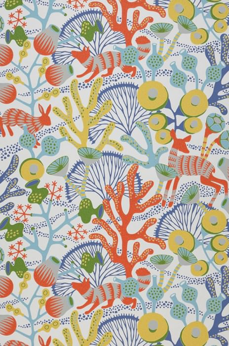 Wallpaper Serena Hand printed look Matt Foxes Rabbits Corals Deer Cream Dark blue Coral red Mint turquoise Lemon yellow