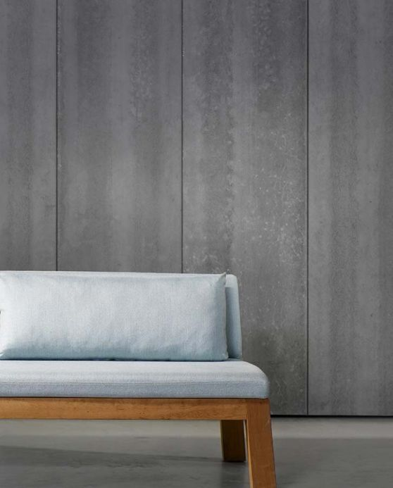 Papel pintado NLXL Papel pintado Concrete 04 gris plateado Ver habitación