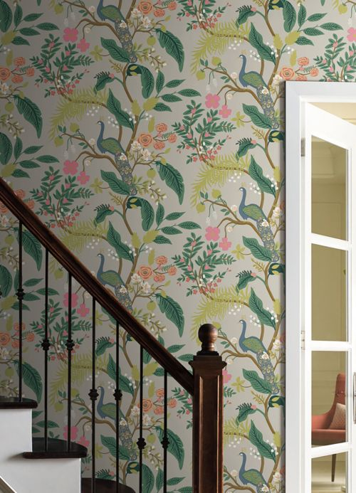 Bedroom Wallpaper Wallpaper Peacock Tree light green Room View