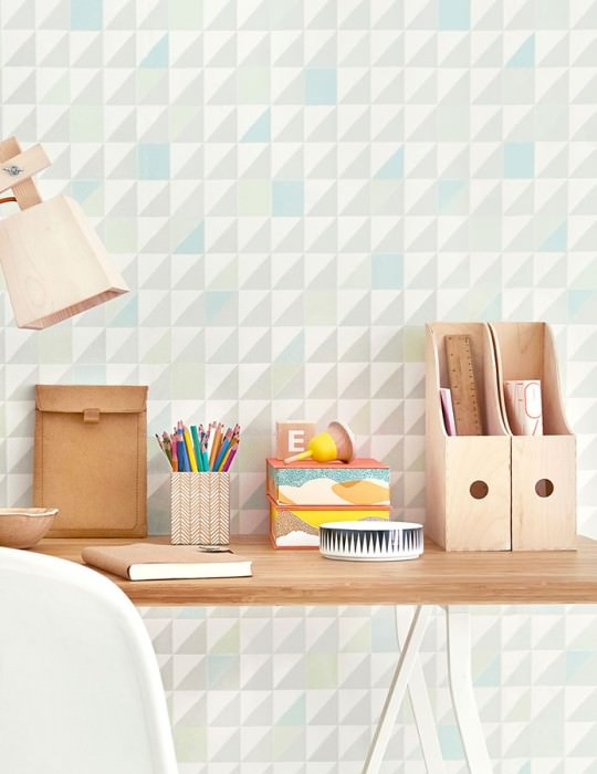 Wallpaper Katinka Hand printed look Matt Triangles Squares Pale green Cream Grey Mint turquoise