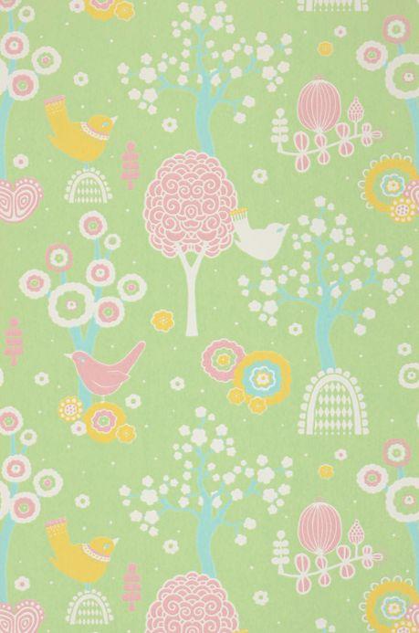 Design Wallpaper Wallpaper Körsbärsdalen light yellow green Roll Width