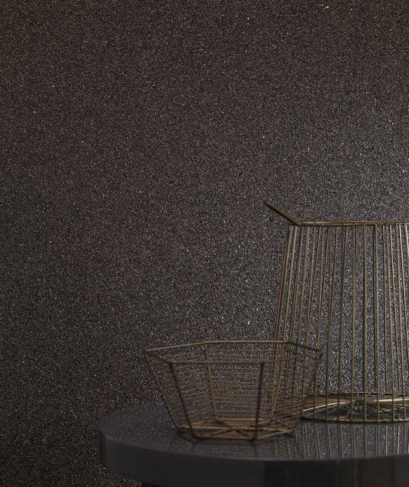Papel pintado natural Papel pintado Mica Classic 01 gris negruzco Ver habitación