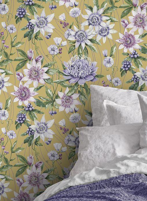Papel de parede floral Papel de parede Zagora amarelo curry claro Ver ambiente