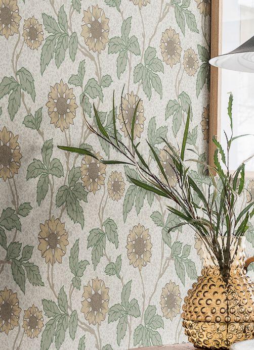 Papel de parede floral Papel de parede Karla branco creme Ver quarto