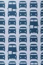 Wallpaper Rush Hour Matt Cars Buses Light blue Ocean blue