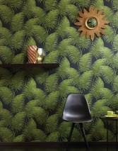 Wallpaper Milva Matt Palm fronds Black Fern green shimmer