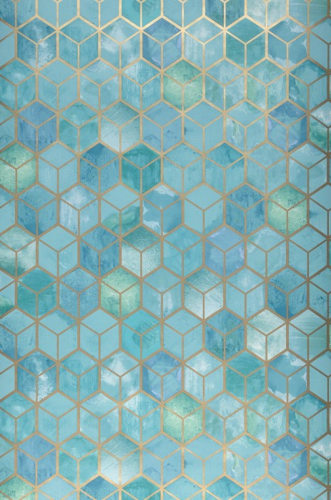 Wallpaper Casimir Shimmering pattern Matt base surface Graphic elements Green Mint turquoise Pastel turquoise Pearl gold