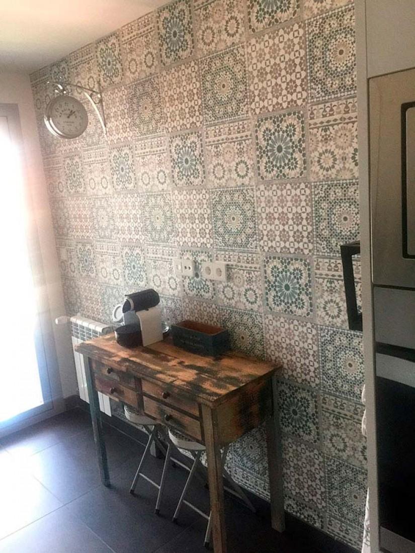 Salle De Bain Azulejos ~ papier peint azulejos blanc cr me brun gris vert marron vert