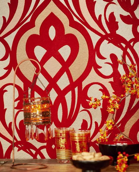 Papel pintado Letona Patrón mate Superficie base brillante Damasco moderno Beige perla Oro perla Marrón beige brillante Rojo rubí