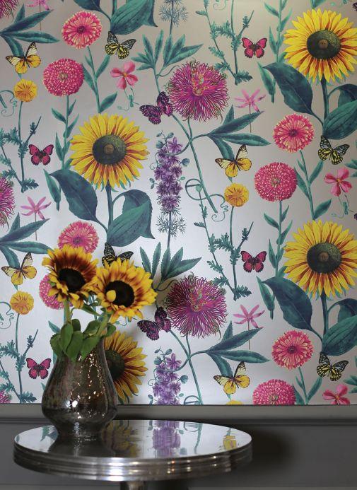 Papier peint floral Papier peint Filomena tons de violet Vue pièce