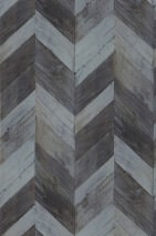 Wallpaper Wood Herringbone Matt Imitation wood Blue grey Grey brown