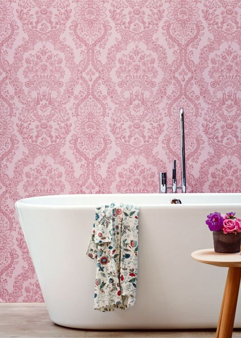 Papel de parede damasco Papel de parede Nuria rosa pálido Ver quarto