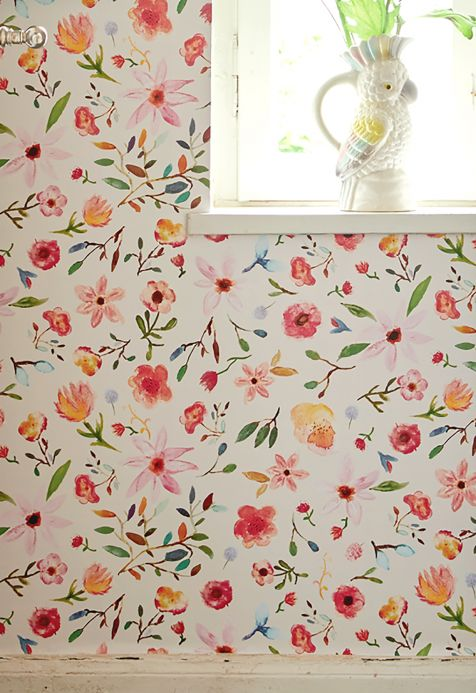 Floral Wallpaper Wallpaper Jill red Room View