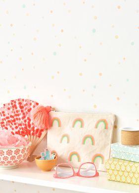 Papel pintado Stardust blanco crema Ver habitación