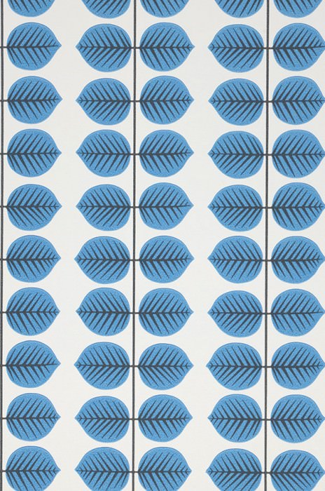 Wallpaper Leonarda Hand printed look Matt Stylised leaves White Blue Black grey