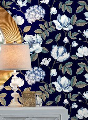 Wallpaper Alba dark blue Raumansicht