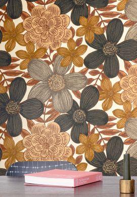 Wallpaper Othilia olive brown Raumansicht