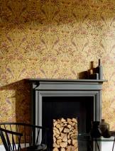 Papel de parede Adina Efeito estampado à mão Mate Damasco floral Art nouveau Pássaros Dourado mate Marrom Castanho Ocre Vermelho púrpura Violeta carmesim Jacarandá
