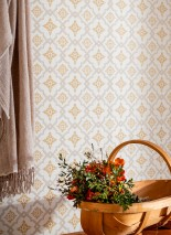 Papier peint Lavinia Aspect impression à la main Mat Damassé historique Losanges Blanc crème Beige gris Jaune ocre