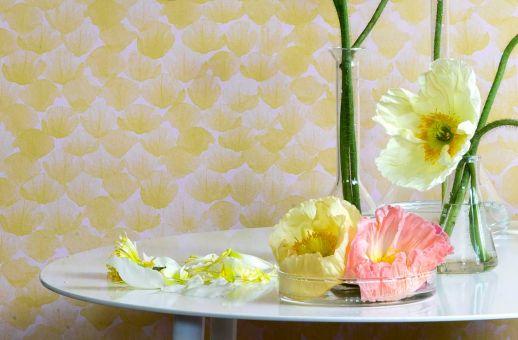 Papel pintado Poppy amarillo limón Ver habitación