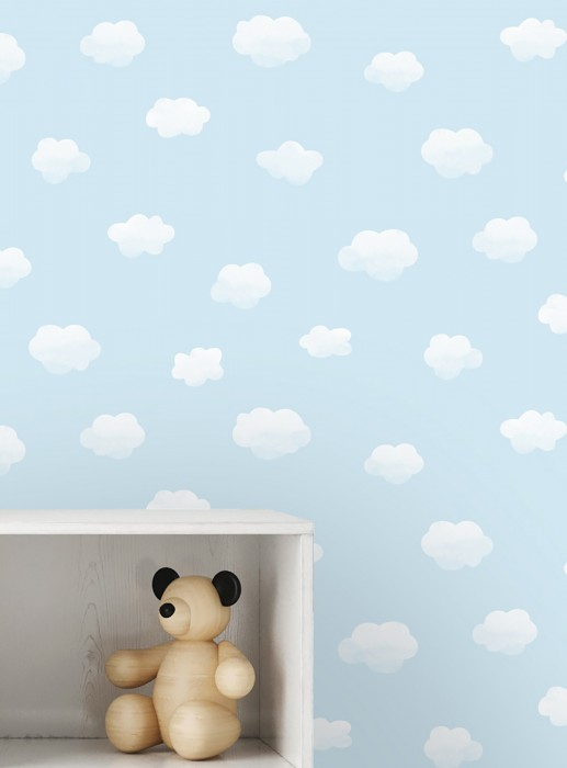 Papel de parede Colette Mate Nuvens Azul claro Branco azulado