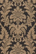 Wallpaper Marunda Matt Looks like textile Baroque damask Black grey Grey beige