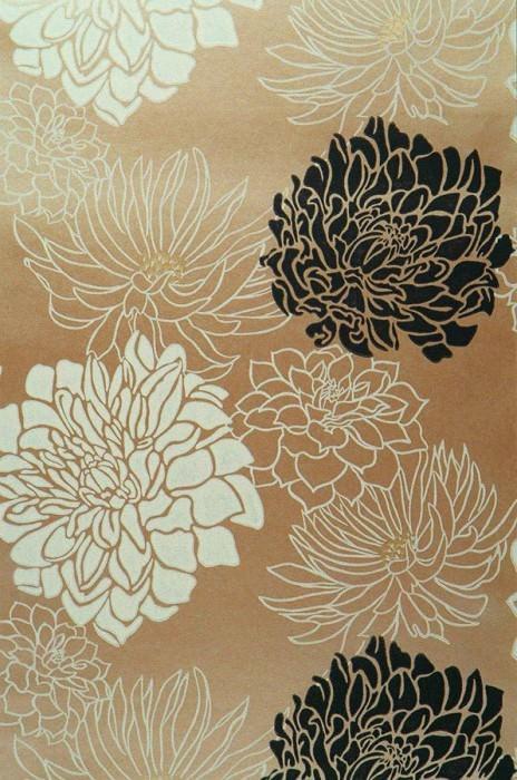 Papel pintado Malama Patrón mate Superficie base brillante Flores Oro Blanco crema Negro
