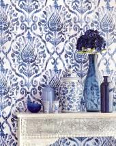 Papel pintado Esiko Mate Damasco floral Blanco crema Violeta pastel Azul zafiro Azul negruzco Azul violeta