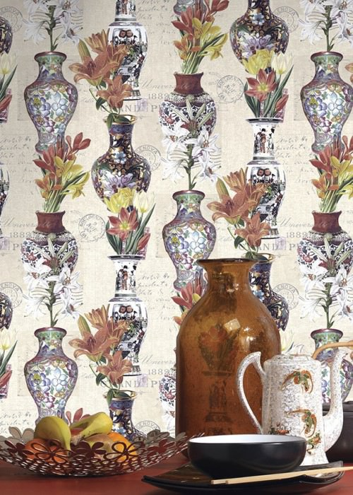 Wallpaper Ophelia Matt Flowers Postcards Vases Words Cream Yellow Green Red orange Silver shimmer Violet