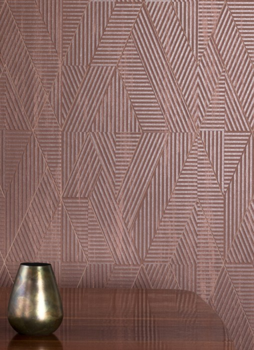 Wallpaper Robin Shimmering pattern Matt base surface Graphic elements Rhombuses Stripes Pale brown Nut brown shimmer Chocolate brown White brown