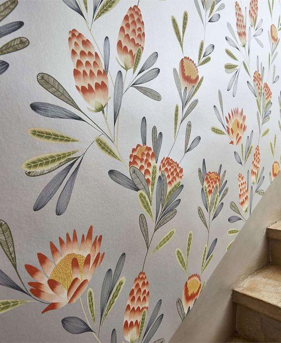 Papel pintado floral Papel pintado Beda naranja rojizo Ver habitación