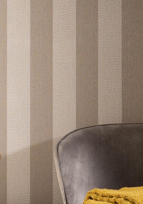 Striped Wallpaper Wallpaper Bamana beige grey Room View