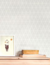 Wallpaper Viggo Hand printed look Matt Triangles Plaid Pale grey Grey white White