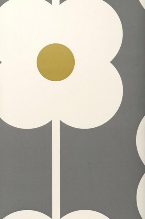 Wallpaper Janus Matt Large stylised blossoms Grey Cream Yellow green
