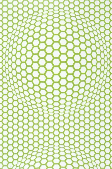 Wallpaper Hypnos Matt Honeycombs Light green lustre White