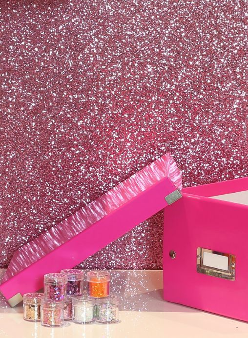 Bedroom Wallpaper Wallpaper Paragon pink glitter Room View