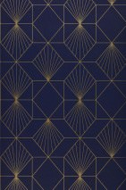Wallpaper Maurus Shimmering pattern Matt base surface Graphic elements Night blue Gold