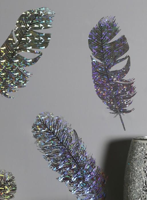 Wallpaper Zhara Hologram effect Shiny pattern Matt base surface Feathers Light grey Black grey Silver metallic