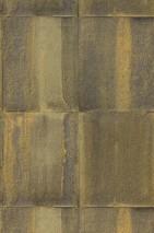 Papel de parede Runar Mate Shabby chic Imitação metal Amarelo oliva Cinza oliva Amarelo açafrão