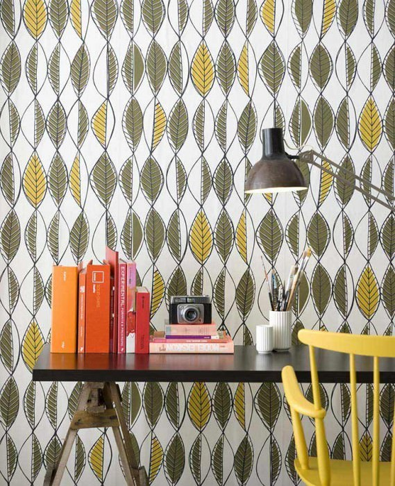 Wallpaper Retro Leaves Matt Leaves Cream Yellow olive Golden yellow Black grey