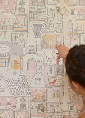 Wallpaper Dollhouse cream Raumansicht