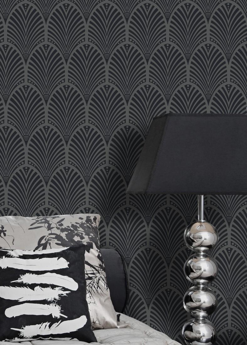 Wallpaper Lyria Dark Grey Shimmer Black Wallpaper From The 70s
