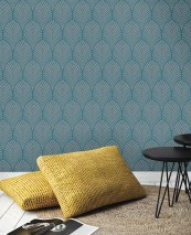 Wallpaper Lyria Matt pattern Iridescent base surface Art Deco fans Turquoise blue shimmer Stone grey