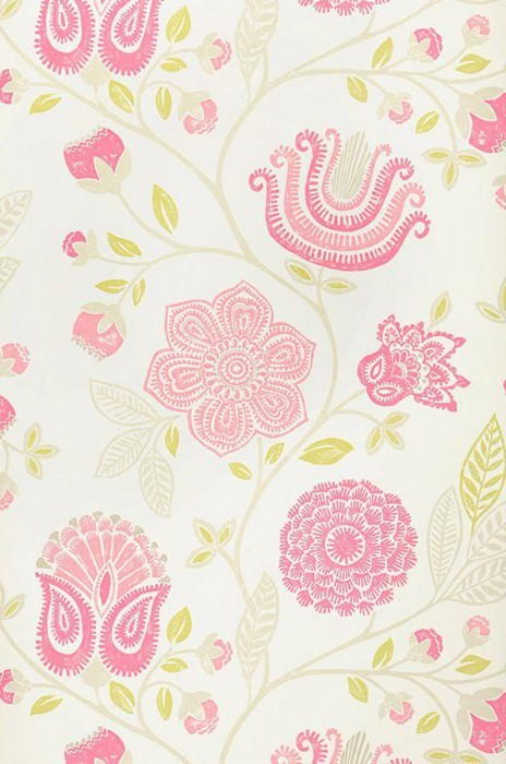 Wallpaper Macha Matt Flowers Cream Heather violet Yellow green Rose